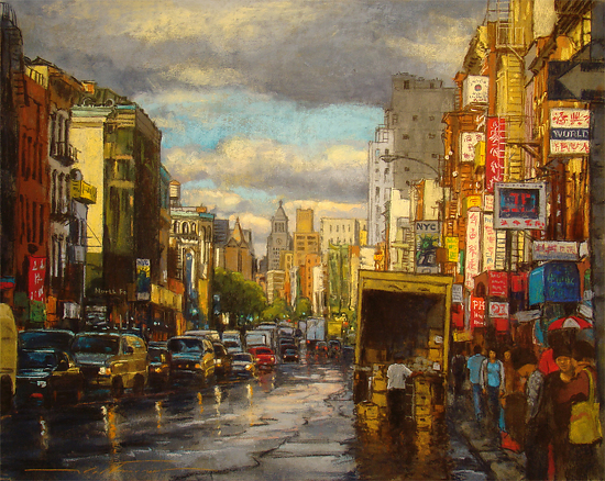 "Alan Flattmann ""China Town NYC Rush Hour""  Fifth Place by  Pastel Society of North Florida Pastel ~  x"