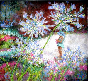 "Florence Prisant, PSA-PSNF-SPS  ""Josie in My Monet Garden"" by  Pastel Society of North Florida Pastel ~  x"