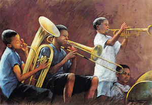 ''Street Musicians'' New Orleans by Marilyn Simpson, PSA Pastel ~  x