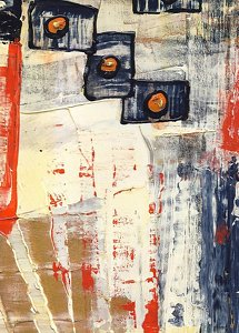 "Abstract 3_2012 by Lynn Kishiyama Paper, Mixed Media, Unframed ~ 4"" x 6 1/2"""