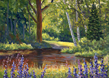Lupine Pond by Elaine Farmer Oil ~ 9 x 12