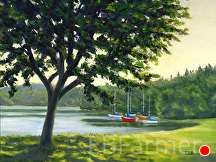 Boats at Rest by Elaine Farmer Oil ~ 9 x 12