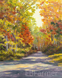 Autumn Path Shadows by Elaine Farmer Oil ~ 10 x 8