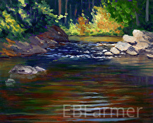 Streaming Reflections by Elaine Farmer Oil ~ 8 x 10