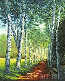 Birch Alee, St. Gaudens by Elaine Farmer Oil ~ 20 x 16