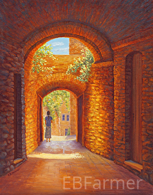 Italy Passage by Elaine Farmer Oil ~ 14 x 11