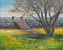 Stairs at Odiorne by Elaine Farmer Oil ~ 8 x 10
