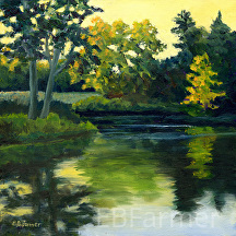 Last Light_Kendall Pond 398 by Elaine Farmer Oil ~ 8 x 8