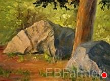 Rocks in woods by Elaine Farmer Oil ~ 6 x 8
