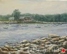 Saunders at Rye Harbor by Elaine Farmer Oil ~ 8 x 10