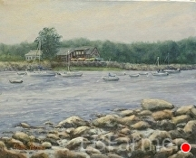 Saunders at Rye Harbor by Elaine Farmer Oil ~ 8 x 10