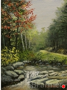 Fall Stream by Elaine Farmer Oil ~ 8 x 6