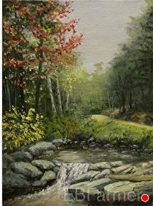 Fall Stream by Elaine Farmer Oil ~ 8 x 6