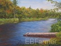 Dock at Mack's Farm by Elaine Farmer Oil ~ 6 x 8
