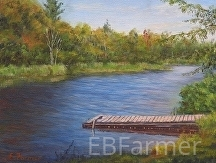 Dock at Mack's Farm by Elaine Farmer Oil ~ 6 x 8