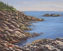 Monhegan Rocks by Elaine Farmer Oil ~ 8 x 10