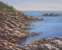 Monhegan Rocks by Elaine Farmer Oil ~ 8 x 10