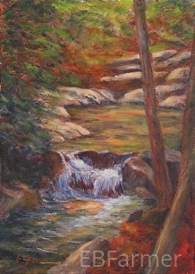 Pools of Color Study II by Elaine Farmer Oil ~ 7 x 5
