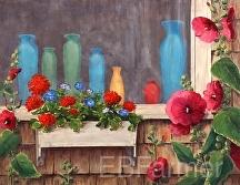 Bottles and Flowers by Elaine Farmer Oil ~ 14 x 18