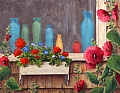 Bottles and Flowers by Elaine Farmer Oil ~ 14 x 18
