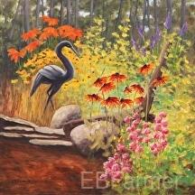 Black Garden Accent by Elaine Farmer Oil ~ 12 x 12