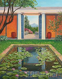 St. Gauden's Lily Pond by Elaine Farmer Oil ~ 14 x 11