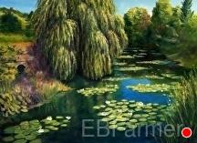 Monet's Water Garden I by Elaine Farmer Oil ~ 9 x 12