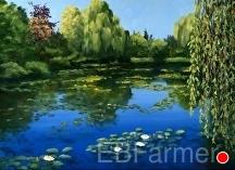 Monet's Water Garden II by Elaine Farmer Oil ~ 9 x 12