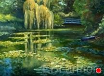 Monet's Water Garden III by Elaine Farmer Oil ~ 9 x 12