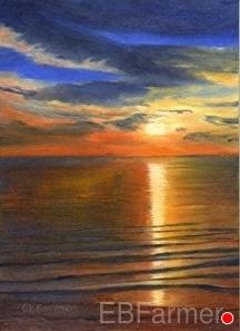Bermuda Sunset by Elaine Farmer Oil ~ 7 x 5
