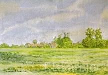 Marnhull Village by Elaine Farmer Watercolor ~ 11 x 15