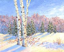 Snow Birch by Elaine Farmer Acrylic ~ 8 x 10