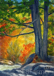 Tree glow by Elaine Farmer Oil ~ 2.5 x 3.5