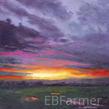 Sunset V by Elaine Farmer Oil ~ 8 x 8