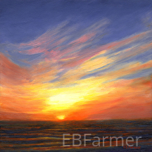 Sunset VI by Elaine Farmer Oil ~ 8 x 8
