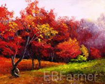 Autumn in Red by Elaine Farmer Oil ~ 8 x 10