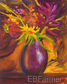 Flower Explosion by Elaine Farmer Oil ~ 8 x 10