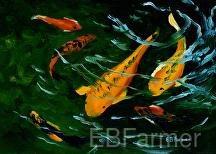 Koi Fish II by Elaine Farmer Oil ~ 5 x 7