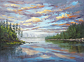 Lake Sunset by Elaine Farmer Oil ~ 18 x 24