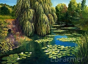 Monet's Water Garden I by Elaine Farmer Oil ~ 9 x 12
