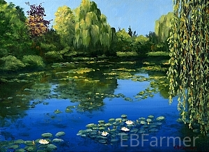 Monet's Water Garden II by Elaine Farmer Oil ~ 9 x 12