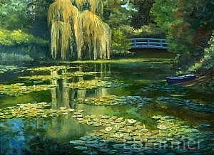 Monet's Water Garden III by Elaine Farmer Oil ~ 9 x 12