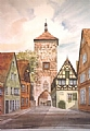 Rothenburg by Elaine Farmer Watercolor ~ 18.5 x 13.5