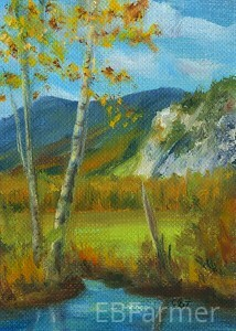 White Horse Ledge, NH by Elaine Farmer Oil ~ 3.5 x 2.5