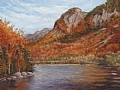 Eagle Cliff at Profile Lake, White Mountains by Elaine Farmer Oil ~ 9 x 12