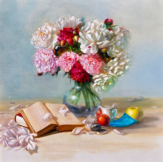 Overflowing with Peonies - Oil