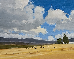 Big Sky Grazing by Greg LaRock Oil ~ 8 x 10