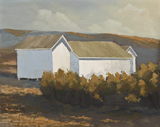 Three White Sheds - Oil
