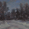 "Winter Night, Fernwood Point Rd by Susan Parmenter Oil ~ 3"" x 4.5"""
