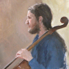 "The Cellist/Daniel (portrait sketch done at High Street Painters) by Susan Parmenter Oil ~ 12"" x 9"""